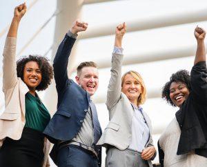 team achieving business success